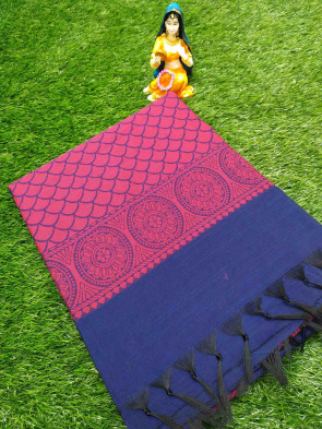 Pochampally Cotton saree comes with over all body round big flowers butta design  running Blouse piece Saree