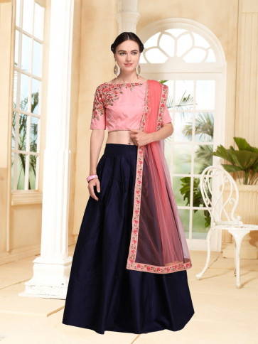 Sudarshan Family Store Wedding and Festival collention  Semi Stitiched Lehenga with Unstitiched choli-Blue-NMN4A777-VN-Satin, Satin