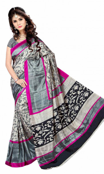 Malgudi silk saree comes with over all body printed flowers design  with Running blouse piece Saree-Multicolor-MSA5506-VN-Synthetic Chiffon