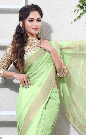 Linen Silk  overall body Plain Design with Gold Jari border saree comes with double blouse