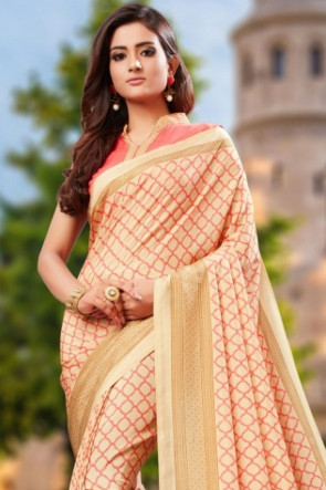 Sudarshan Family Store Synthetic saree soft butter quality printed with self design blouse piece Fancy Saree