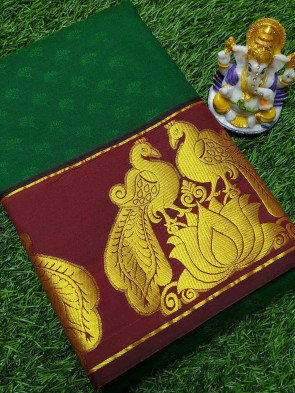 Art silk saree comes with over all body flower embose design with gold multi design butta border