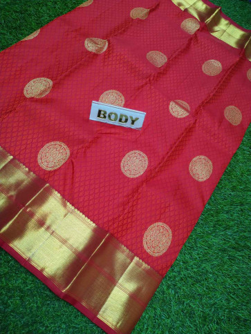 100 % Pure kanchipuram saree comes with over all body flower embose and gold jeri round flower butta design with pure jeri gold big border-Red-MJK9270974-VS-Silk