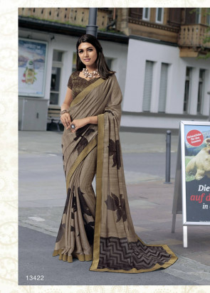 Latest Fancy Dharohar Multi Design printed Synthetic Georgette Saree