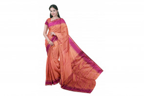 Pure kadial silk saree comes with over all body plain design with small gold line border