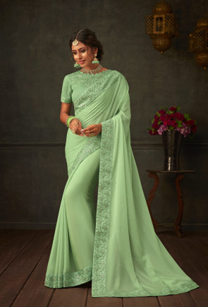 sudarshan new Green Georgette Embroidered Heavy Work Designer Saree