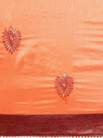 Indian Women Latest Embroidery  Poly Silk saree