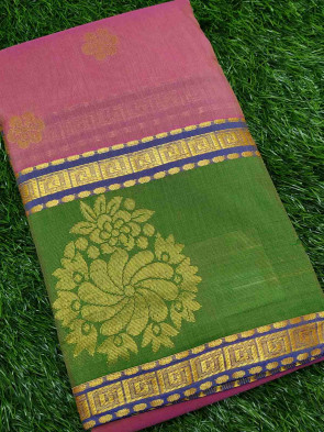 Cotton saree comes with over all body gold small flower butta design with gold flower border