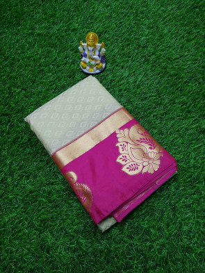 Art silk saree comes with over all body small diamond embose design with gold big flower butta border