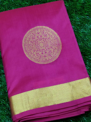Pure kanchipuram silk saree comes with over all body round gold flower butta design with gold jeri gatti border