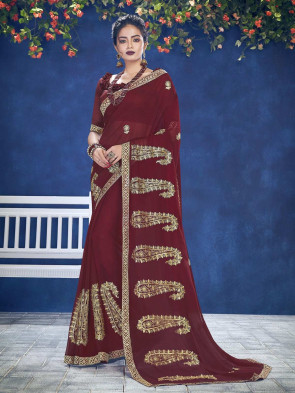 Indian Women Latest Trendy Chiffon  saree