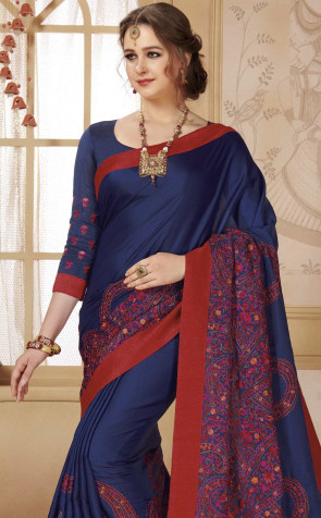 Sudarshan Family Store latest Athena Embroidery work Georgette  Fancy Design  Attached border saree