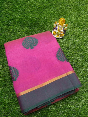 Raw Silk silk sarees comes with over all body tree thread work with small contrast and gold line border