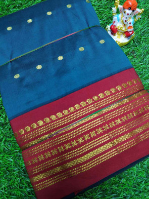 Pure kadial silk saree comes with over all body small gold flower butta design with multi design gold border