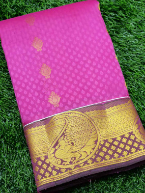 Half silk saree comes with over all body small gold flower butta design with multi design gold border