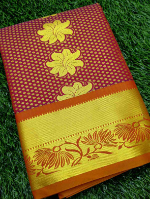 Art silk saree comes with over all body gold flower butta design with multi design gold border