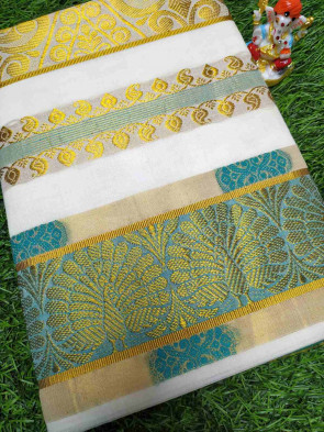 Kerala mundu cotton saree comes with over all body gold small flower butta design with gold multi design border