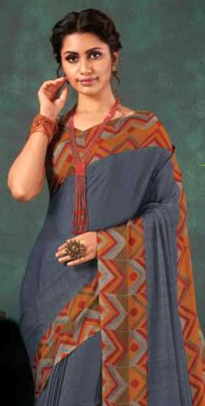 Chiffon silk Printed saree with Blouse piece -Juliet catalogue