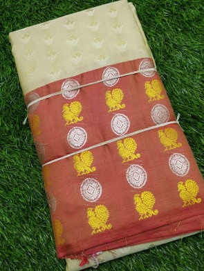 Half silk saree comes with over all body small flower embose design with multi design big border