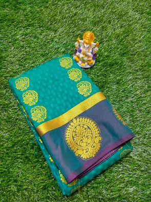 Art silk saree come with over all body embose with flower butta design and gold flower butta border