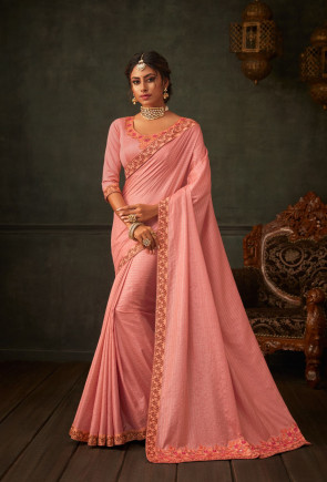 sudarshan new Pink Poly Silk Embroidered Heavy Work Designer Saree