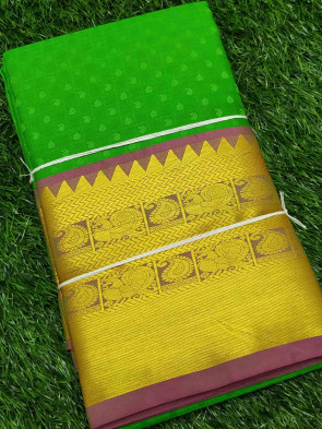 Half silk saree comes with over all body small gold mango embose design with multi design gold border
