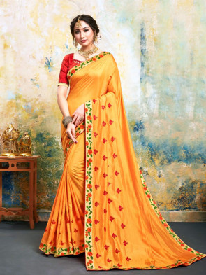 Indian Women Yellow Poly Silk Embroidered Fancy Designer Saree