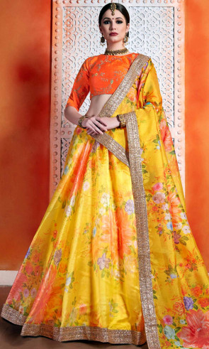 New Wedding and Festival Semi Stitiched Lehenga Choli with Mono net Dupata