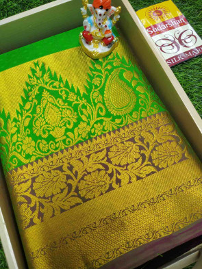 100% Pure kanchipuram silk saree comes with over all body small multi flower embose design with multi design big border