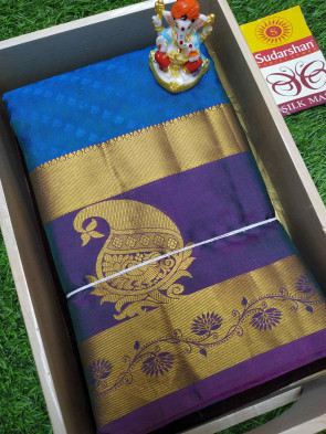 100% Pure silk saree comes with over all body small flower embose design with multi design gold jeri border