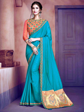 Indian Women Latest Fancy Poly Silk sarees ( INDIAN SILK )