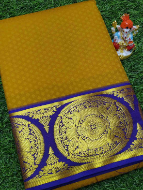 Art silk saree comes with over all body tiny flower embose design with multi design gold border