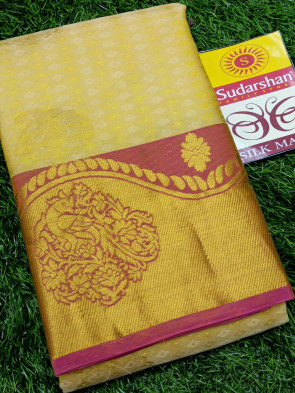Pure kanchiPuram silk saree comes with over all body gold flower butta design with multi design gold border