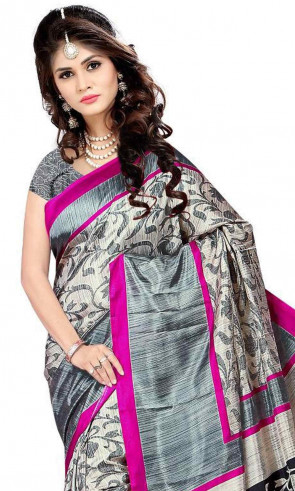 Malgudi silk saree comes with over all body printed flowers design  with Running blouse piece Saree