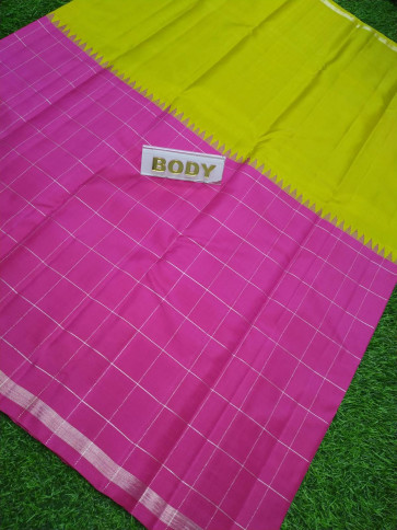100 % Pure kanchipuram saree comes with over all body silver checks design with silver small border-JPS9164699-VS-Silk