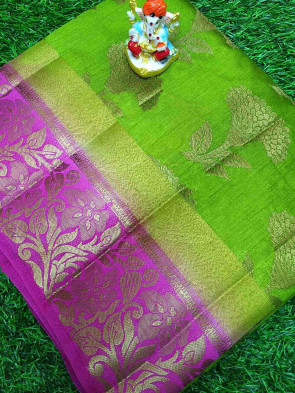 Raw silk saree comes with over all body gold flower butta design with multi flower butta border