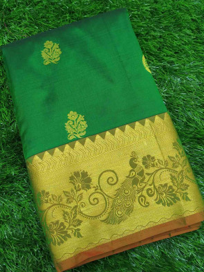Pure kanchipuram silk saree comes with over all body gold jeri multi butta design with gold multi design border