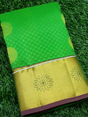Half silk saree comes with over all body round gold flower butta design with gold sunflower border