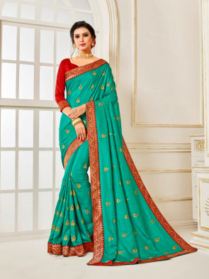 Indian Women Green Poly Silk Embroidered with jaqcard Border Designer Saree