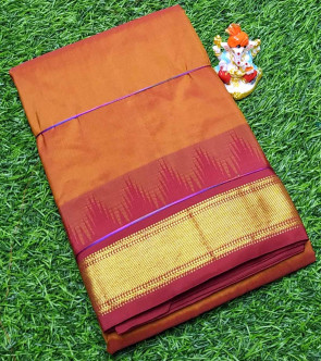 Pure kadial silk saree comes with over all body plain design with temple butta gold jeri border