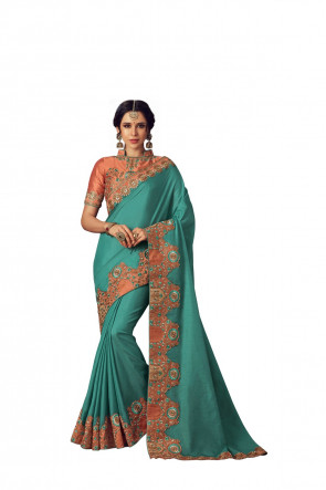 SUDARSHAN NEW MANGOTurqouise Blue Poly Silk Heavy Embroidered Work Designer Saree