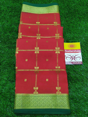 Pure mysore silk saree comes with over all body gold checks multi design with gold jeri multi design border