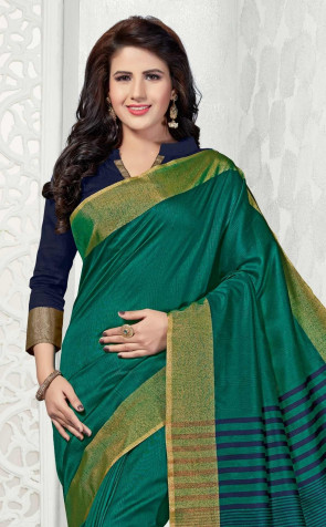 adbe9a21f Sudarshan Family Store Silk Blend Plain Design overall body gold and Silver  border with Running Self