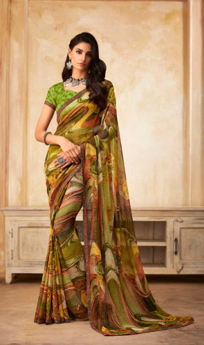 SUDARSHAN NEW  Green Georgette Printed and Fancy Lace Border Designer Saree