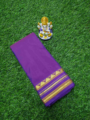 cotton saree comes with over all body plain with multi lines and multi colour temple gold border