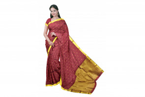 Pure kadial silk saree comes with over all body gold small coin butta design with gold jeri border