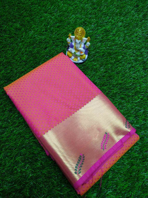 Art silk saree comes with over all body small leafs embose design and art gold jarI border in petal design Running Blouse piece Saree