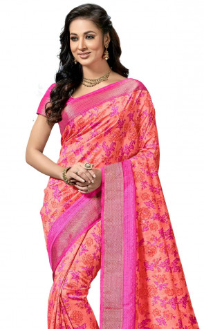 Sudarhan Family Store  Synthetic ( Silk Type ) butter softness mix silk printed  with attached Border saree