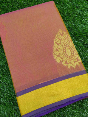 Cotton saree comes with over all body gold big leaf butta design with gold plain border