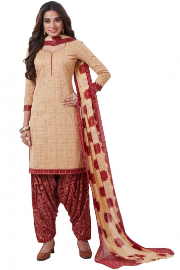 Sudarshan Family Store Ready to wear Cotton Fabric Salwar kameez with printed pant Fany Dupata-Cream-MPS3057-VO-Cotton